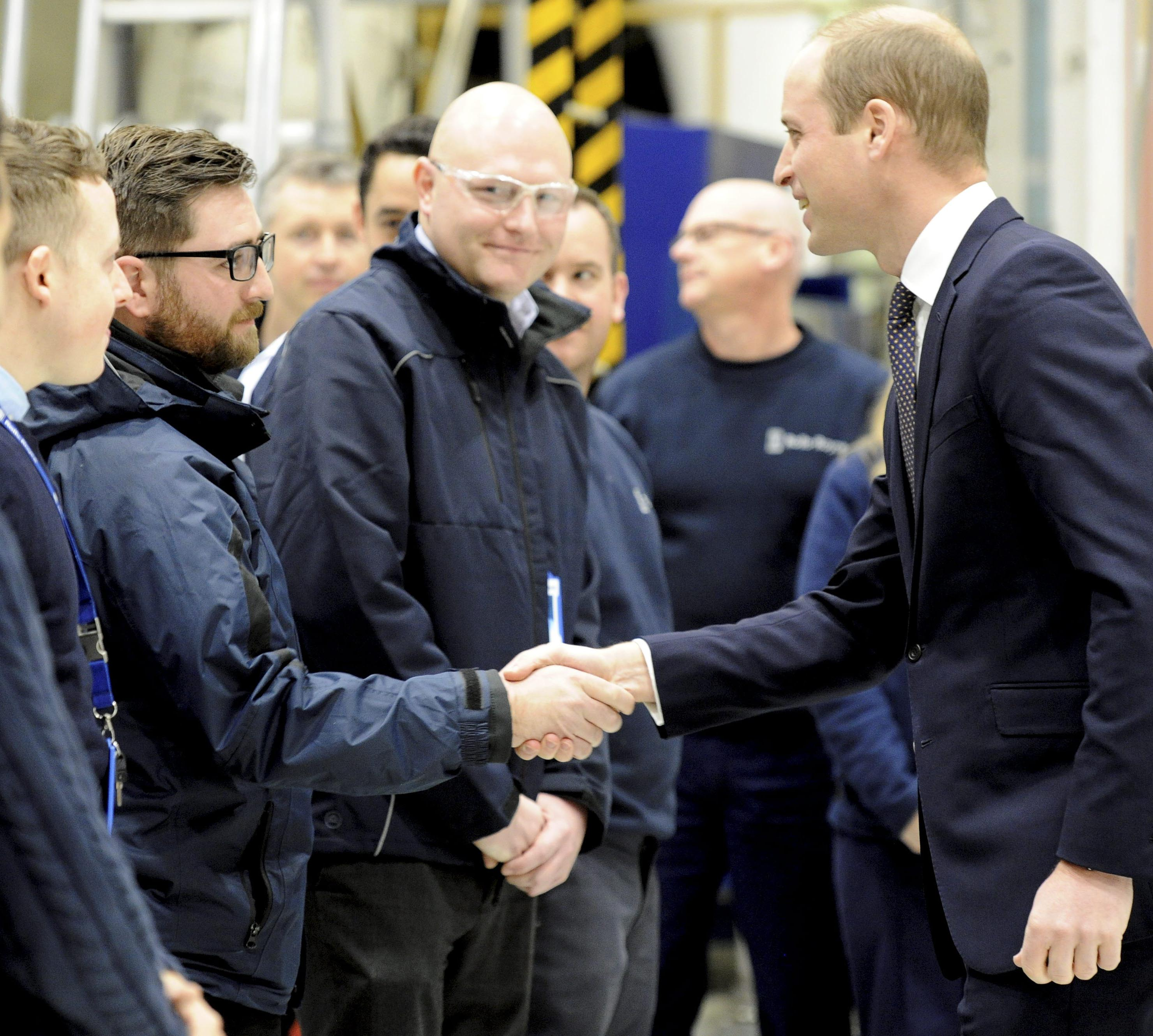 Picture: Victoria Wilcox ROYAL ROTA ARRANGEMENT SO PICTURES ARE AVAILABLE TO MEDIA  The Duke of Cambridge HRH Prince William visit to Rolls-Royce HQ in Wilmore Road, Derby  Employees eagerly await his arrival, then some even got to meet him in person too - at the Technology Centre here